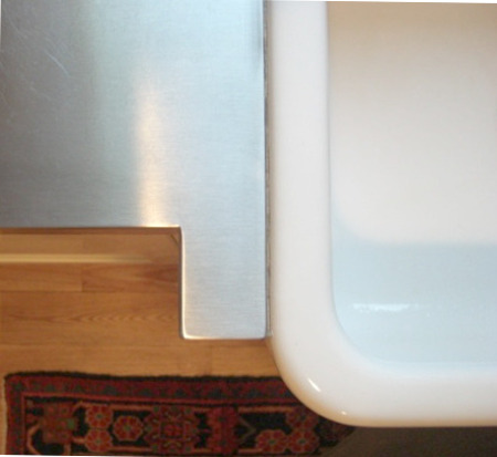 upmounted farm sink - top view of fireclay farm sink set with rim above the counter level and fully exposed - Atticmag