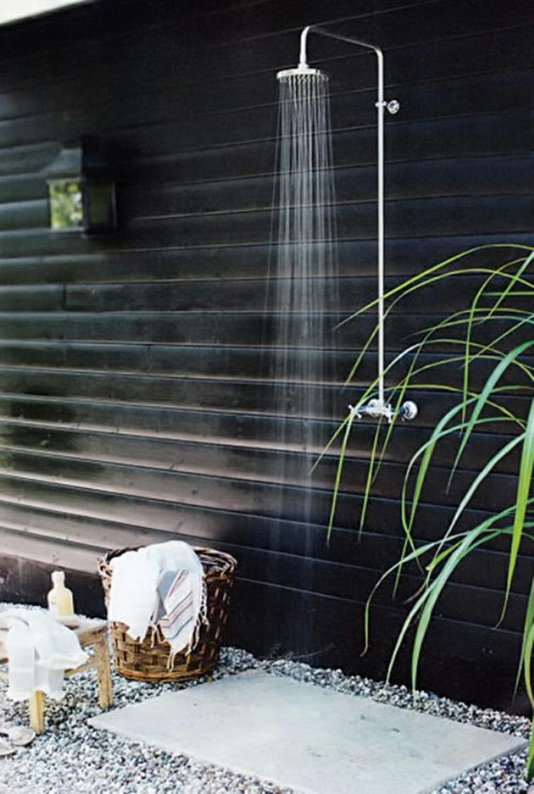 basic outdoor shower - in-wall hot and cold water shower in Sweden - Hus & Hem via Atticmag