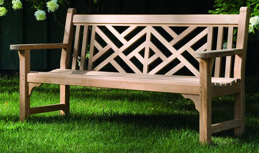 garden bench - Chinese Chippendale teak garden bench - Kingsley Bate via Atticmag