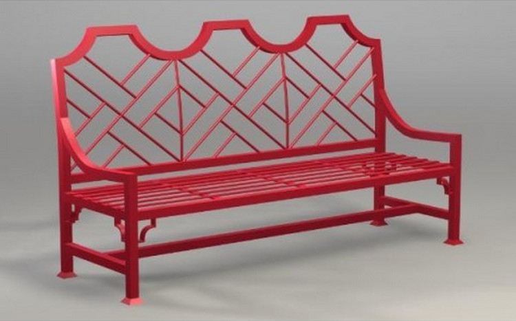 garden bench - Manchester Chippendale Three Seater Bench, in Chinese red - The Well Appointed House via Atticmag