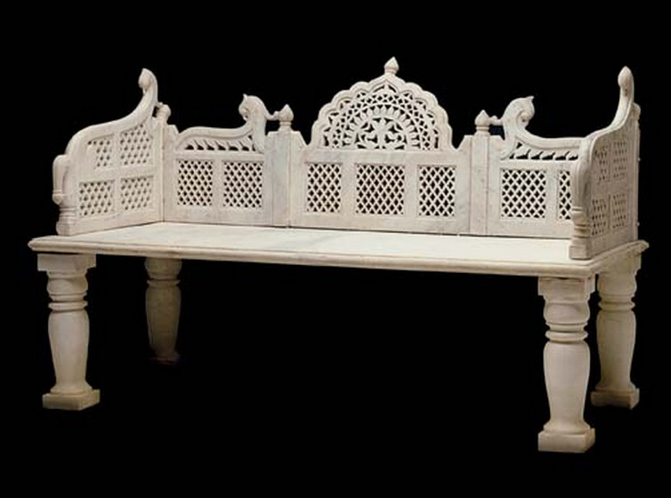 garden bench - 19th C Indian Mughal marble garden bench from the Ellsworth collection - Christies via Atticmag