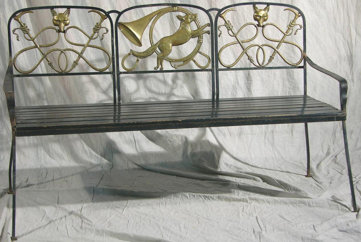 garden bench - Wrought iron garden bench with brass fox hunting motif in the back - Bunte Auctions via Atticmag