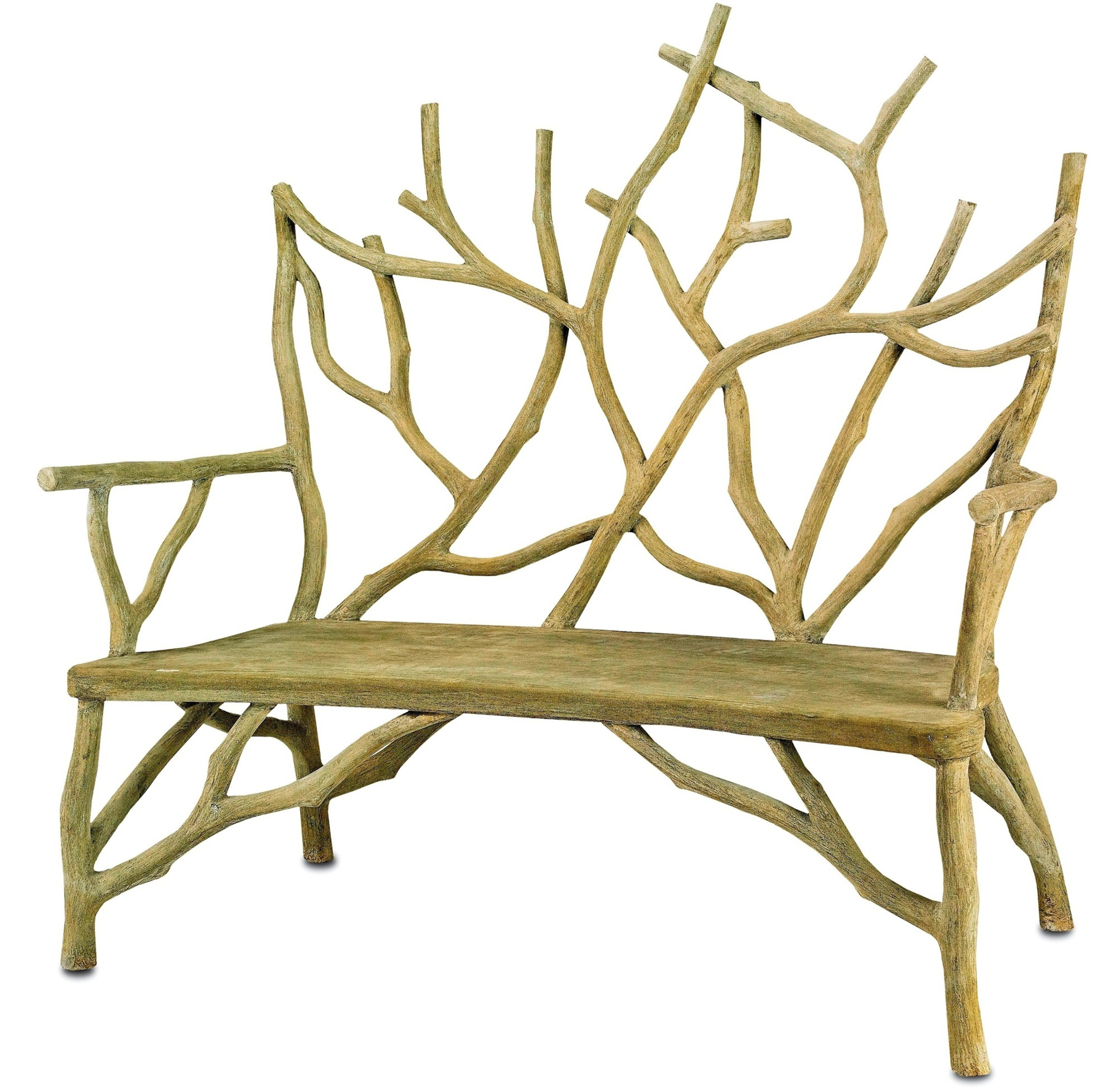 garden bench - faux bois cast concrete twig style garden bench - Currey & Co. via Atticmag