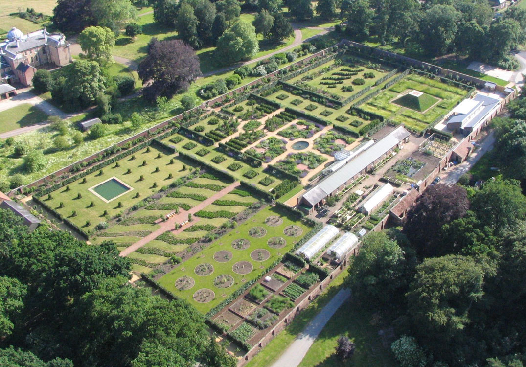 walled gardens - birdeye view of the 4-1/2 acre Scampston Estate walled garden in Yorkshire, England - pinterest via Atticmag