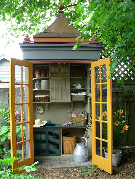 backyard shed - Interior of polychrome pagoda style garden shed with open glass doors - flickriver.com via Atticmag