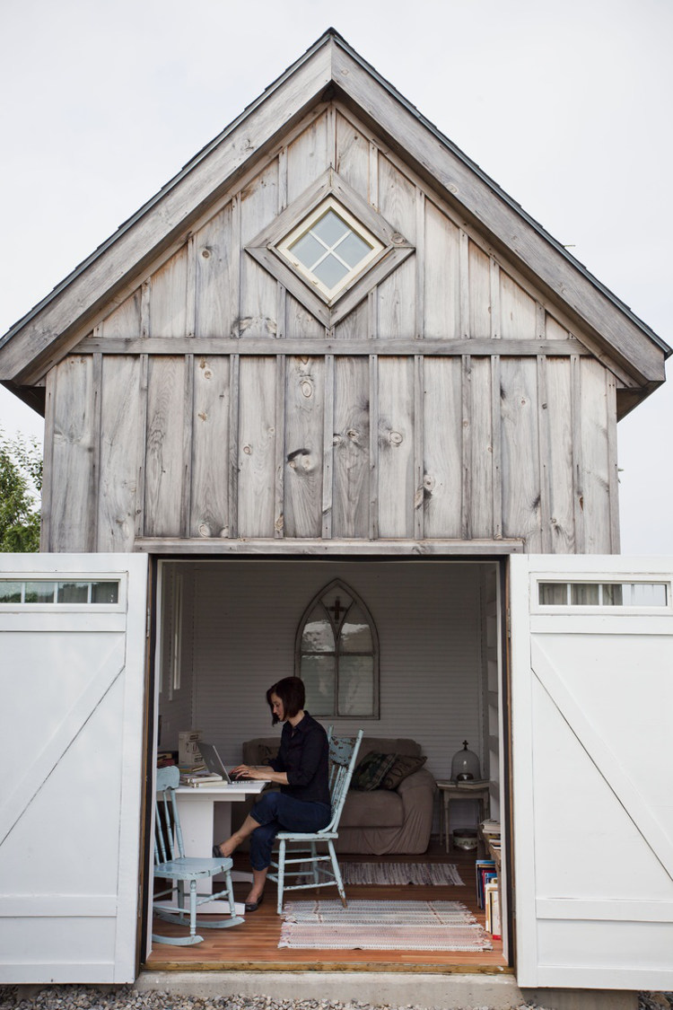 backyard shed - Ann Voskamp's furnished she-shed mini-barn at the edge of a cornfield - A Holy Experience.com via Atticmag