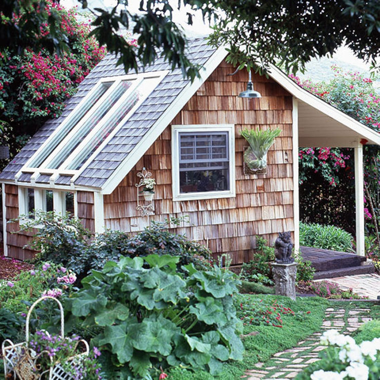 backyard shed - Cedar singled potting shed with open porch and triple skylights - Better Homes & Gardens via Atticmag