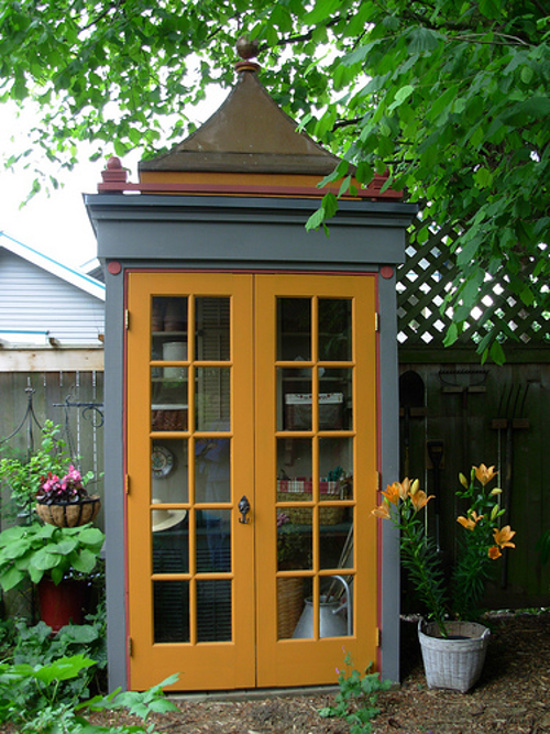 backyard shed - Polychrome pagoda style garden shed with divided lite glass doors - flickriver.com via Atticmag