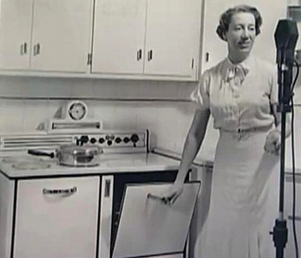 Agnes White as Betty Crocker at the stove in the early 20th century - Willis Real Estate via Atticmag