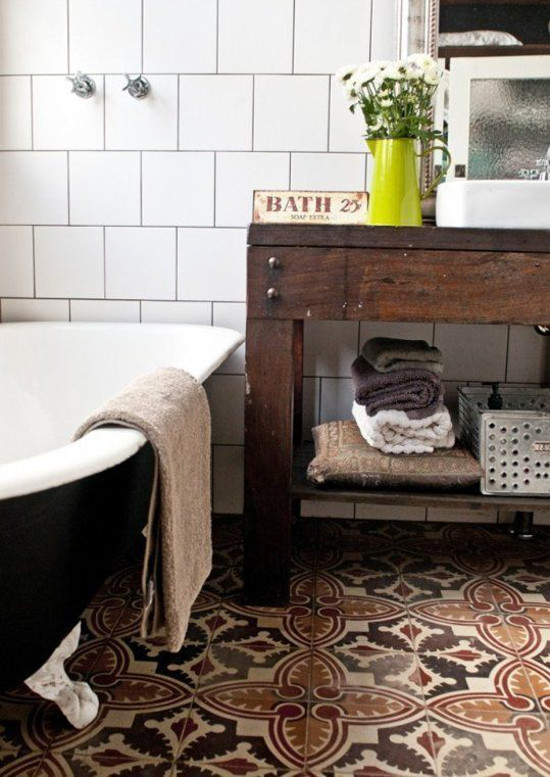 bathroom floor tile - patterned antique Spanish bathroom floor tile in an Australian bath by Etica Design - house-nerd.com