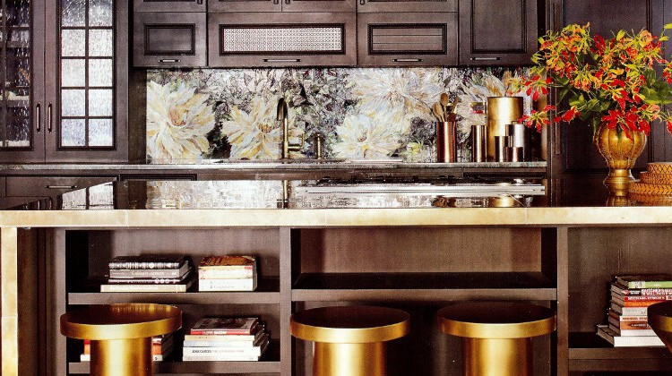 John Legend and Chrissy Teigen kitchens - Dark, industrial NYC loft kitchen with brass accents and a Mosaic Sphere glass mosaic backsplash - designed by Desiderata Design - AD via Atticmag.com