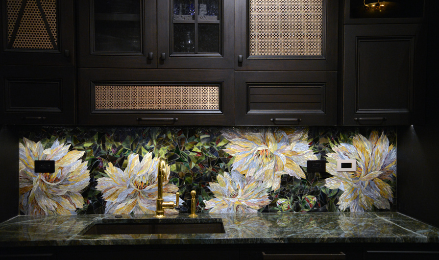 ohn Legend and Chrissy Teigen kitchens - detail of Peony Impromptu stained glass mosaic backsplash by Yulia Hanansen - Mosaic Sphere Studio via Atticmag.com