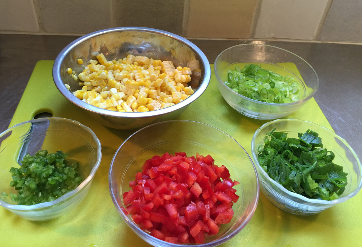 corn and jalapeño pancakes - jalapeños, red bell pepper, scallion greens, scallions, corn kernels ready to mix - Atticmag.com