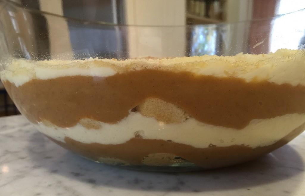 pumpkin tiramisù - layered ladyfingers, pumpkin pudding and mascarpone in a glass bowl - Atticmag.com