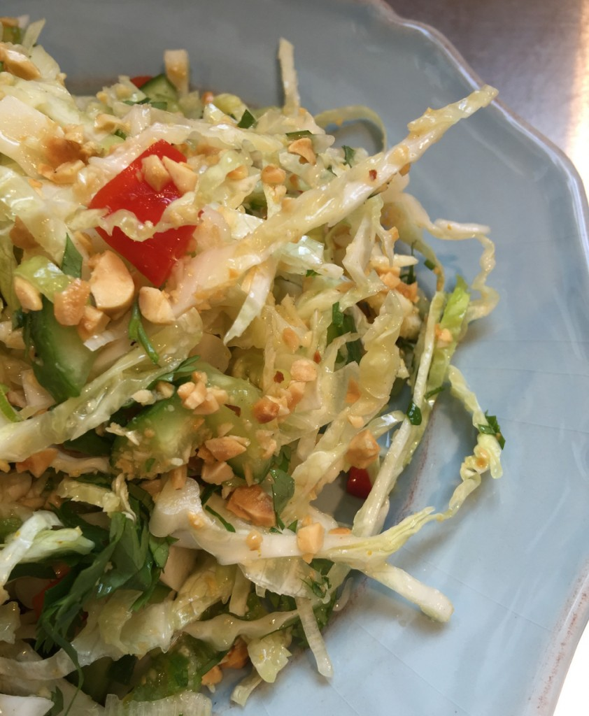 Thai Taste Cole Slaw with hot peppers, peanuts, cilantro and curry dressing - atticmag.com