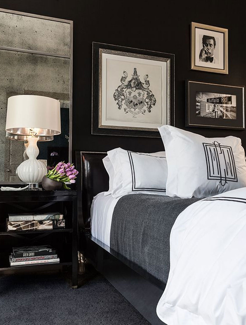 black room - black bedroom with ebonized furniture - burlap and crystal via atticmag