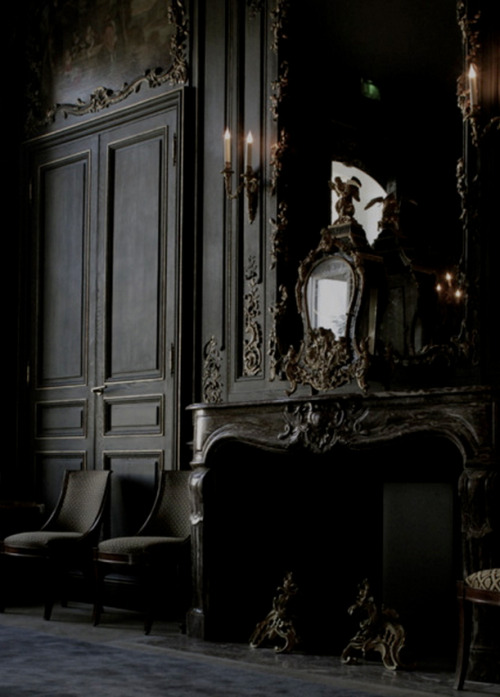 black room - dining room of the Hotel du Marc in Reims, France - tumblr via Atticmag