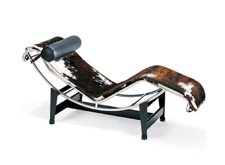 designer furniture - le corbusier lc4 chaise, 1928, with hairy hide covering- hive modern via atticmag