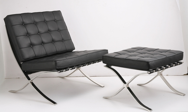designer furniture - Mies van der Rohe Barcelona Chair and Stool, in black leather, 1929 - dwr via atticmag