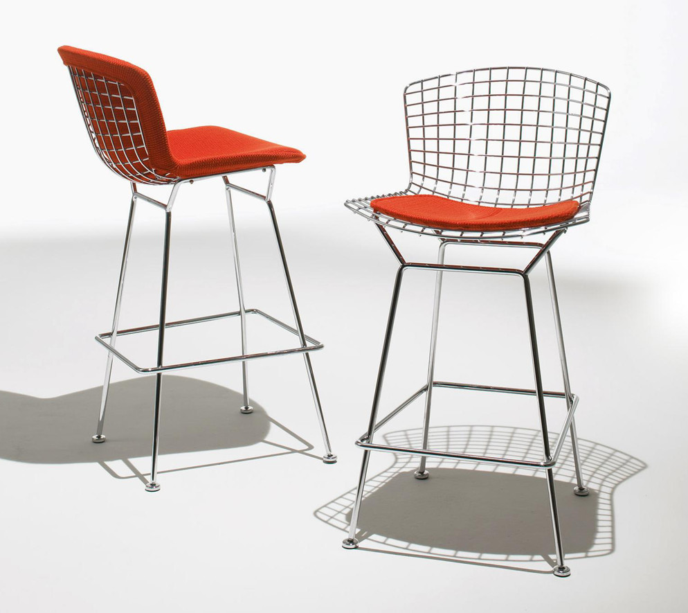 designer furniture - Bertoia Wire Rod Counter Stool with red pads, 1952 - knoll via atticmag