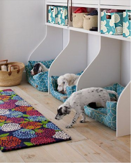 built in dog beds - trio of built in dog bed cubbies with upholstered cushions - garnet hill via atticmag
