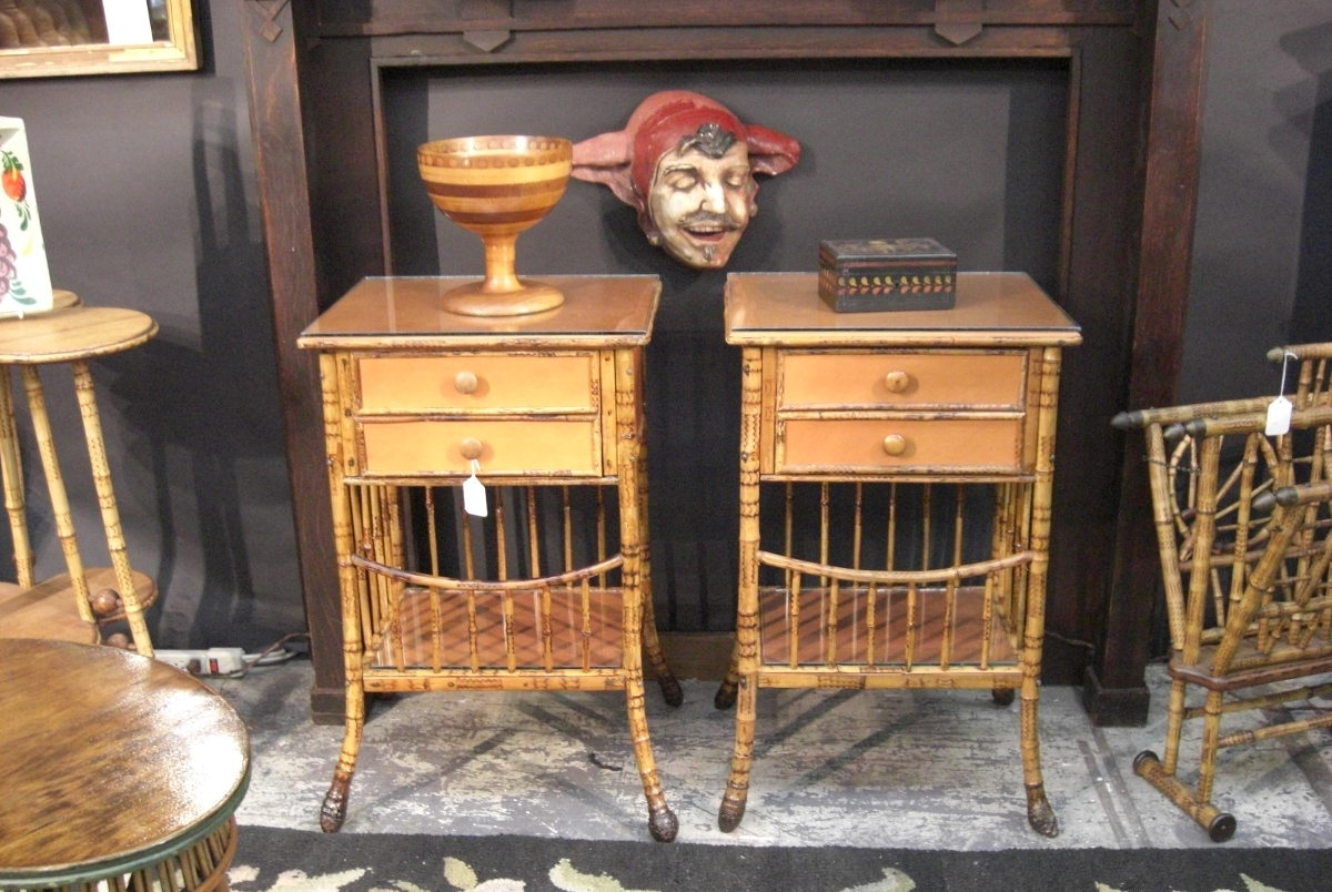 fishing camp - Victorian bamboo side tables and magazine rack at New York Piers Antique show - Atticmag