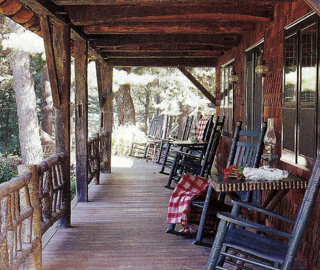 fishing camp - front porch of the house with American rocking chairs - Country Living via Atticmag