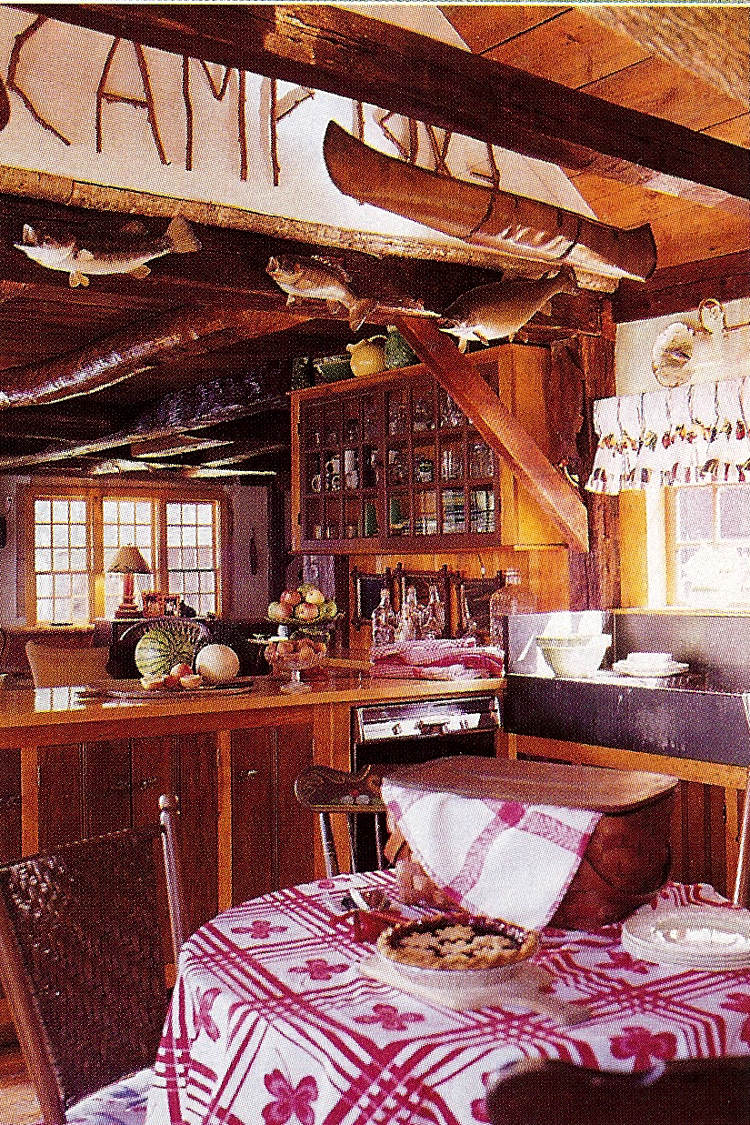 fishing camp - kitchen and breakfast table - Country Living via Atticmag