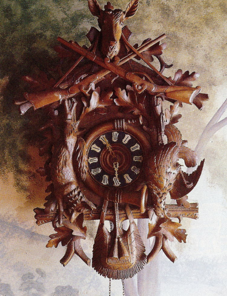 fishing camp - historic style carved wood clock with hunting motifs - Country Living via Atticmag