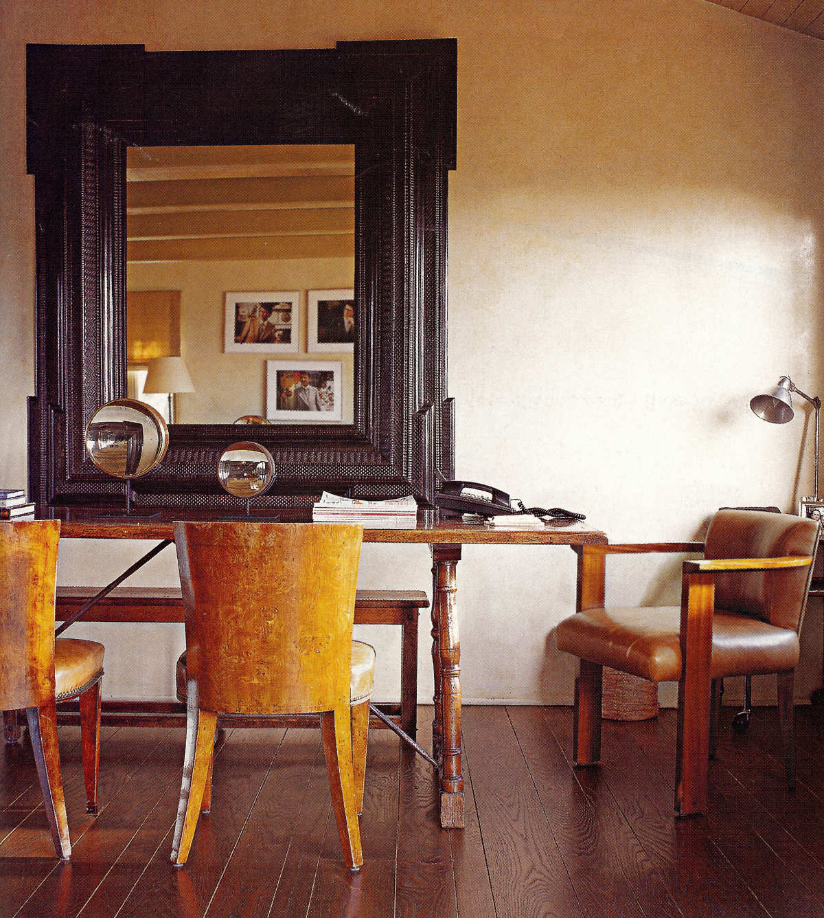 hollywood style - antique table and chairs in the work space of an LA house decorated by Michael S. Smith - H&G via Atticmag