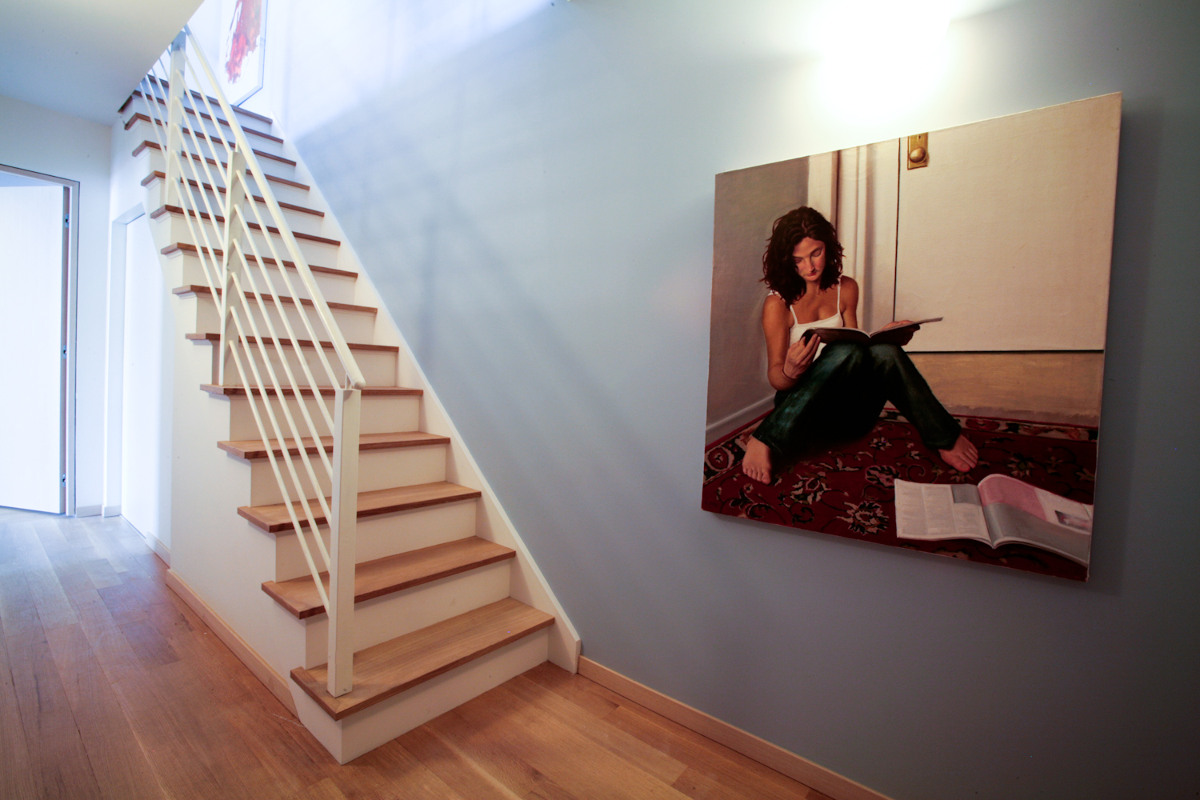 Ikea penthouse - stairway to the roof with an oil painting by Aleksander Betko - Craig Paulson via Atticmag
