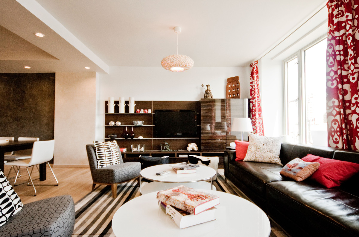 Ikea penthouse - living room storage and media unit at one end - Craig Paulson via Atticmag