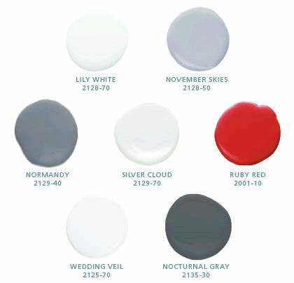 Ikea penthouse - Benjamin Moore red, white and gray color palette used by designer Inson Wood - Craig Paulson via Atticmag