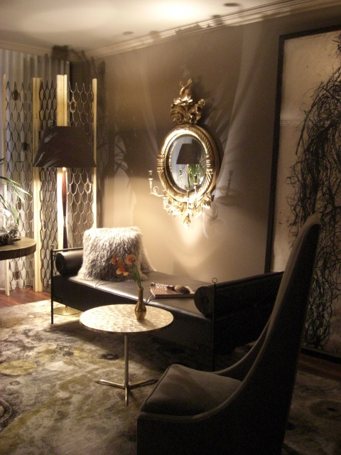 inspired design showhouse - dark, moody room with interesting accessories by David Scott - Atticmag