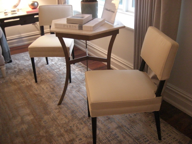inspired design showhouse - pair of Tommi Parzinger Palumbo side chairs in library designed by S. Russell Groves - Atticmag