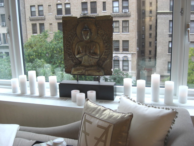 inspired design showhouse - master bedroom picture window with golden buddah by Cullman & Kravis - Atticmag