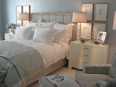 inspired design showhouse - blue bedroom by Nancy Corzine with blue-edged bed linens white bedside tables - Atticmag