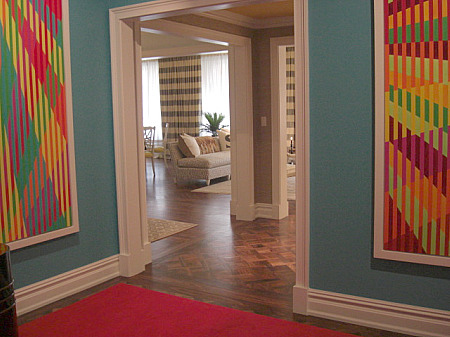 inspired design showhouse - blue painted foyer with orange accents by John Barmann - Atticmag