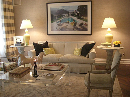 inspired design showhouse - cream rolled arm sofa lucite coffee table by HB Home - Atticmag