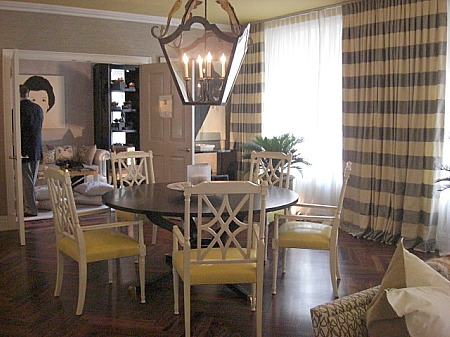 inspired design showhouse - glass top dining room table with white chairs by HB Home - Atticmag