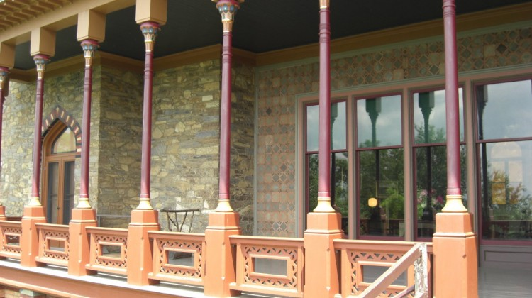 """Olana -- Egyptian styled balcony called the """"piazza"""" has views of the Hudson River and countryside - Atticmag"""