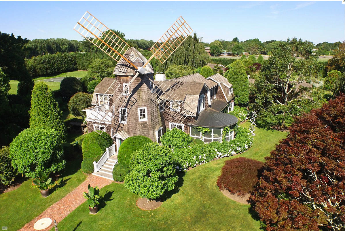 DeRose Windmill Cottage - aerial view of the historic Victorian house with attached windmill - Brown, Harris Stevens via Atticmag