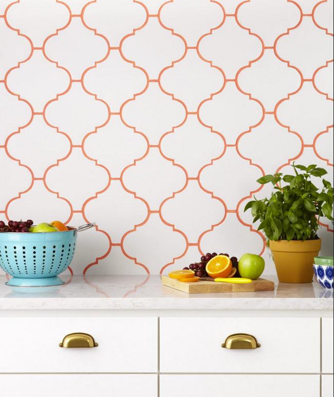 kitchen tile backsplash ideas - white lantern tile with colored sedona orange hydroment grout - hgtv via atticmag