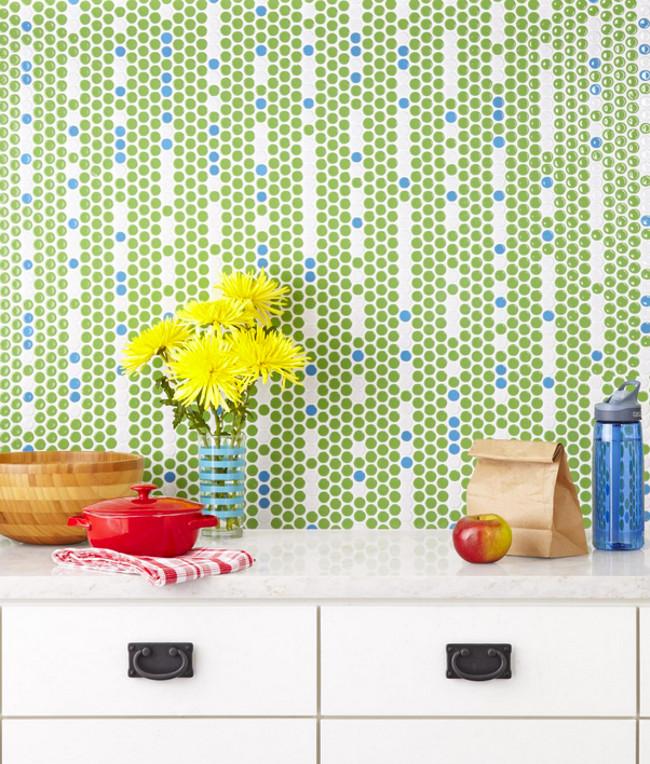 kitchen tile backsplash ideas - vertical mixed Mod Dotz porcelain pennyround tile backsplash in key lime and pacific by David Bromstad - hgtv via atticmag