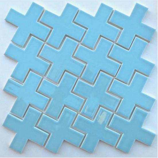 kitchen tile backsplash ideas - Plus Mosaic blue tiles - Modwalls via Atticmag