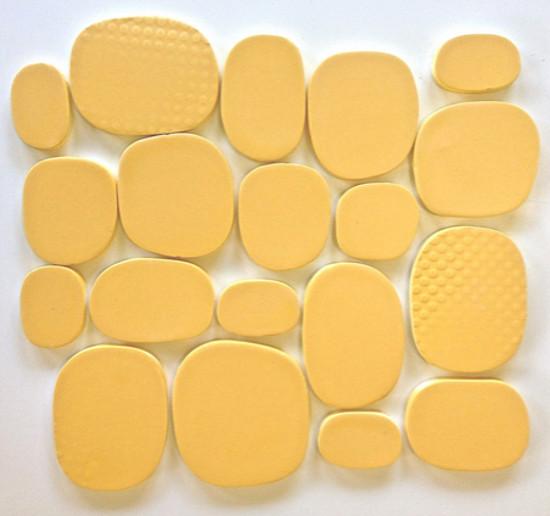 kitchen tile backsplash ideas - Rex Ray Studio Rox ceramic tiles in solar yellow - Modwalls via Atticmag