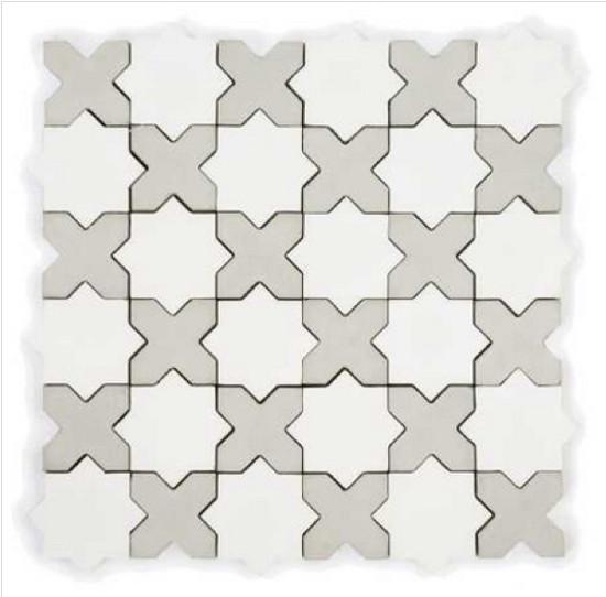 kitchen tile backsplash ideas - star cross mini mosaic in gray and white - granada tile via aticmag