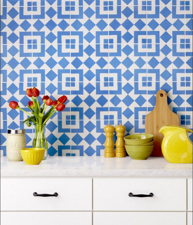 kitchen tile backsplash ideas - Fez 8x8 blue cement tile backsplash from granada tile - hgtv via atticmag