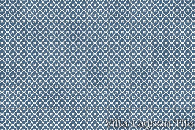 kitchen tile backsplash ideas - Pattern 18 blue and white cement tile - villa lagoon via atticmag