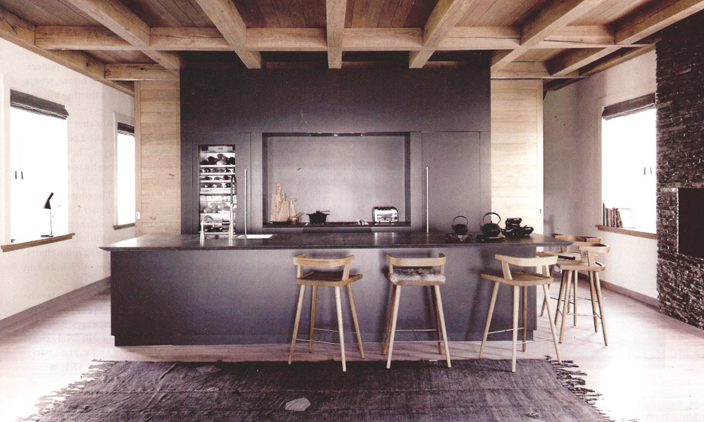no upper cabinet kitchens - open contemporary loft style kitchen in a Danish house - Elle Decor via Atticmag